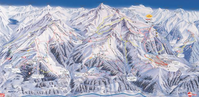 Ski and Snowboard using the 4 Vallées trail map