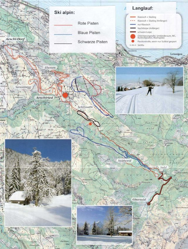 Ski and Snowboard using the Aeschi trail map