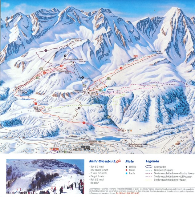 Ski and Snowboard using the Airolo trail map