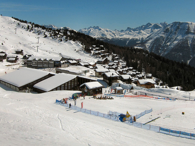 View of winter sports resort in Valais