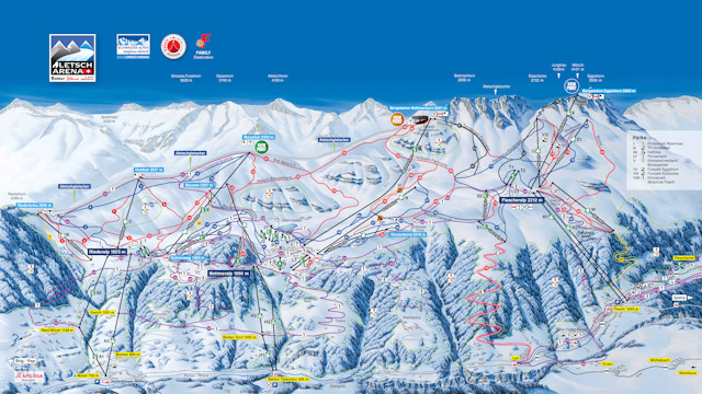 Ski and Snowboard using the Aletsch Arena trail map