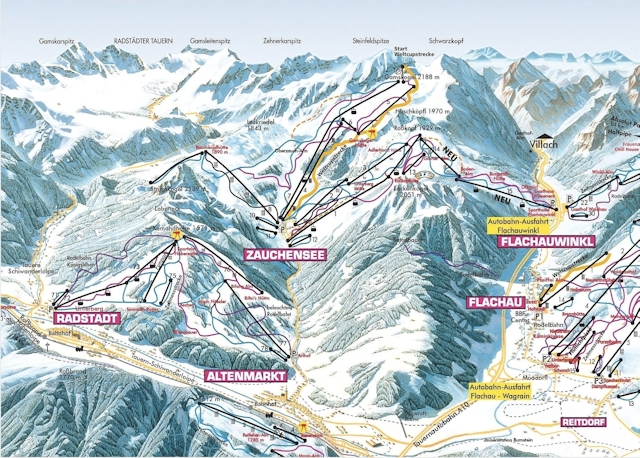 Ski and Snowboard using the Altenmarkt - Radstadt trail map