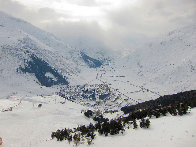 View of winter sports resort in Uri