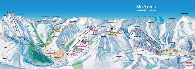 Ski and Snowboard using the Andermatt trail map