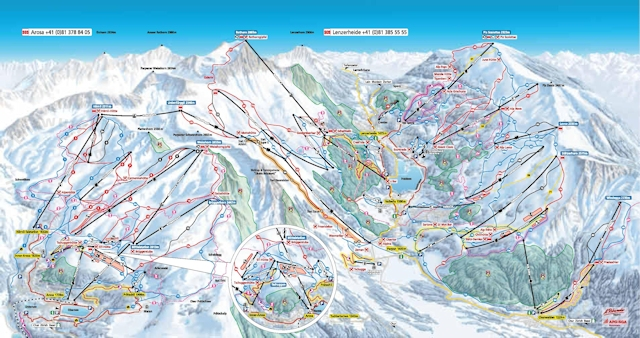 Ski and Snowboard using the Arosa trail map