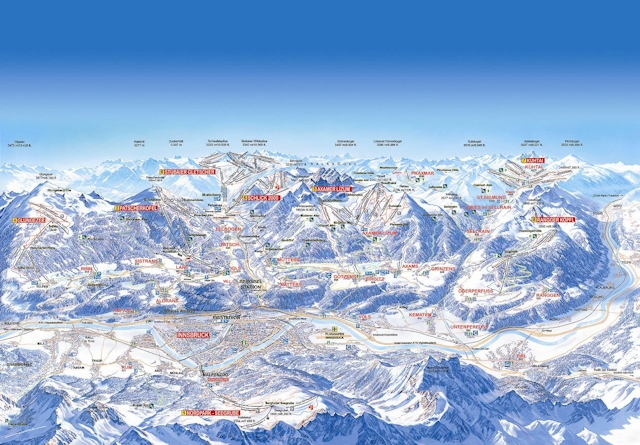 Ski and Snowboard using the Axamer Lizum trail map