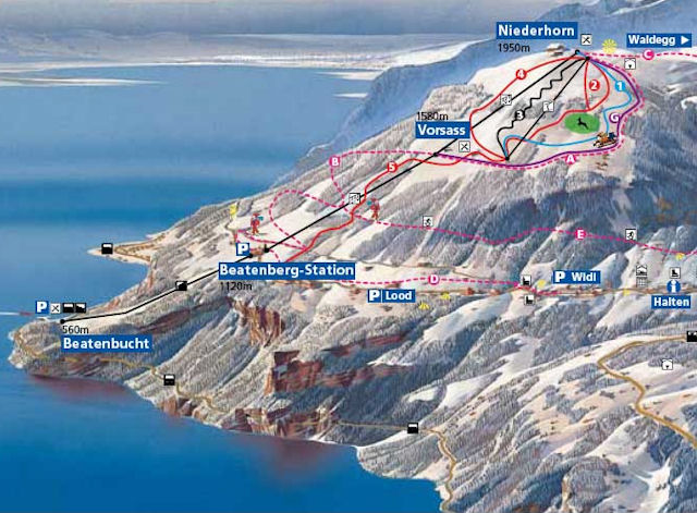 Ski and Snowboard using the Beatenberg trail map