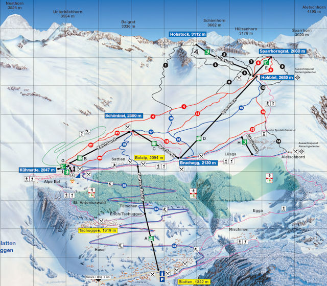 Ski and Snowboard using the Belalp trail map