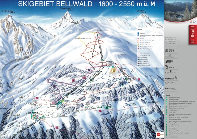 Ski and Snowboard using the Bellwald trail map