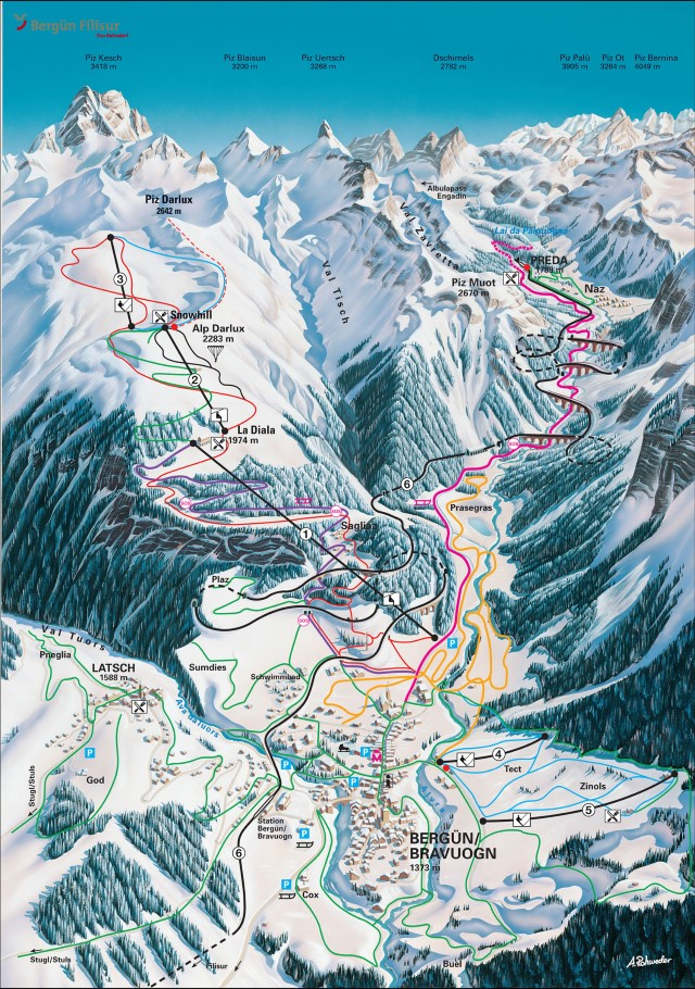 Ski and Snowboard using the Bergün trail map