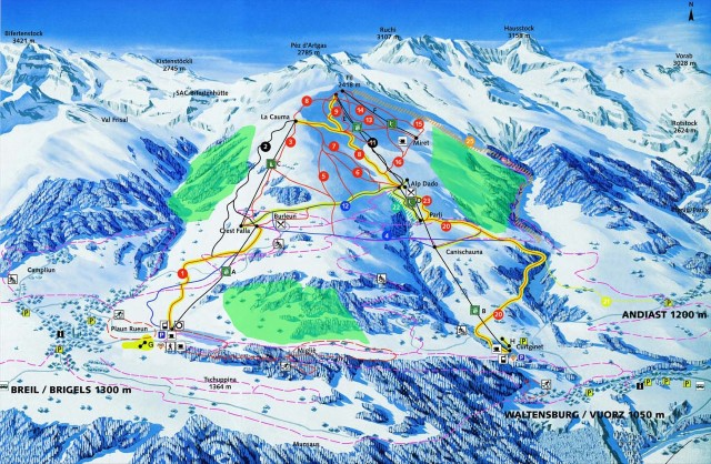 Ski and Snowboard using the Brigels trail map