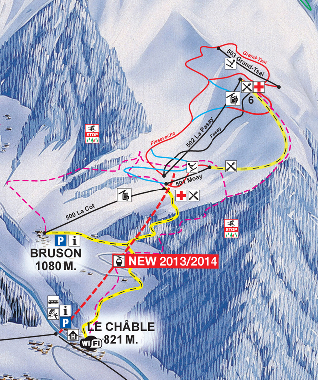 Ski and Snowboard using the Bruson trail map