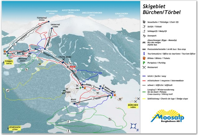 Ski and Snowboard using the Bürchen trail map