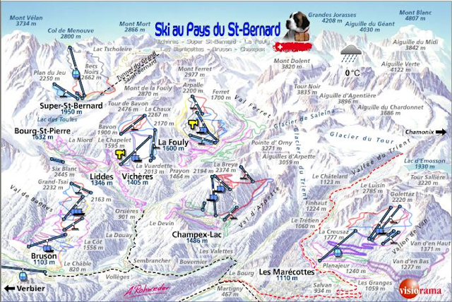 Ski and Snowboard using the Champex-Lac trail map