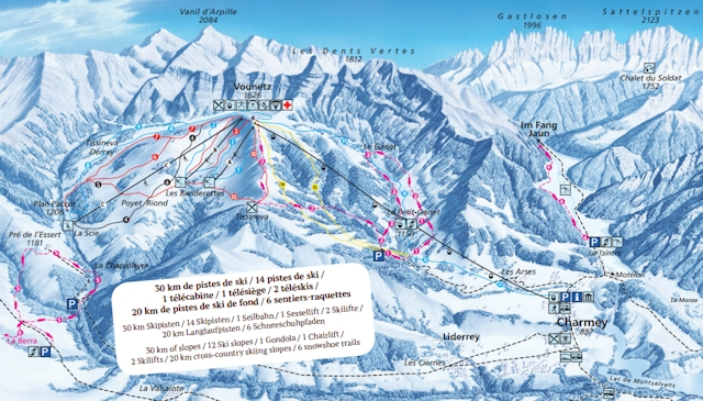 Ski and Snowboard using the Charmey trail map