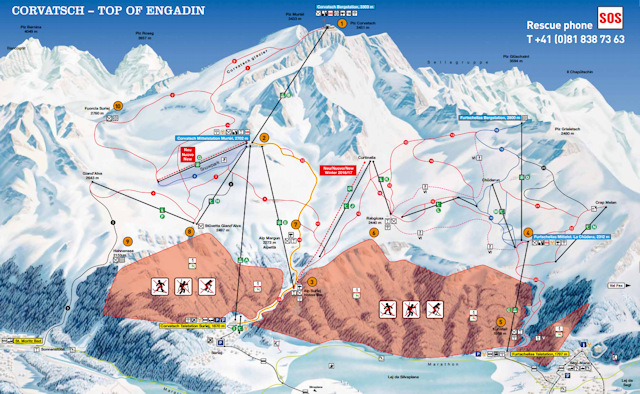 Ski and Snowboard using the Corvatsch trail map
