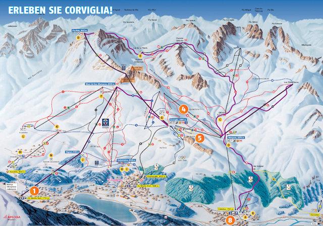 Ski and Snowboard using the Corviglia trail map