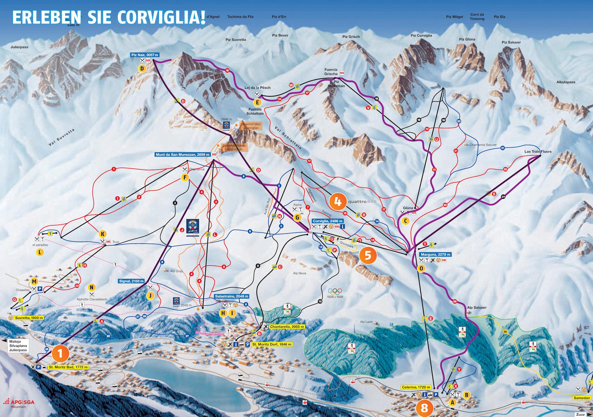 Ski And Snowboard Corviglia Winter Sports In And Near
