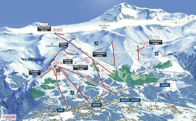 Ski and Snowboard using the Crans-Montana trail map