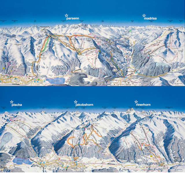 Ski and Snowboard using the Davos trail map