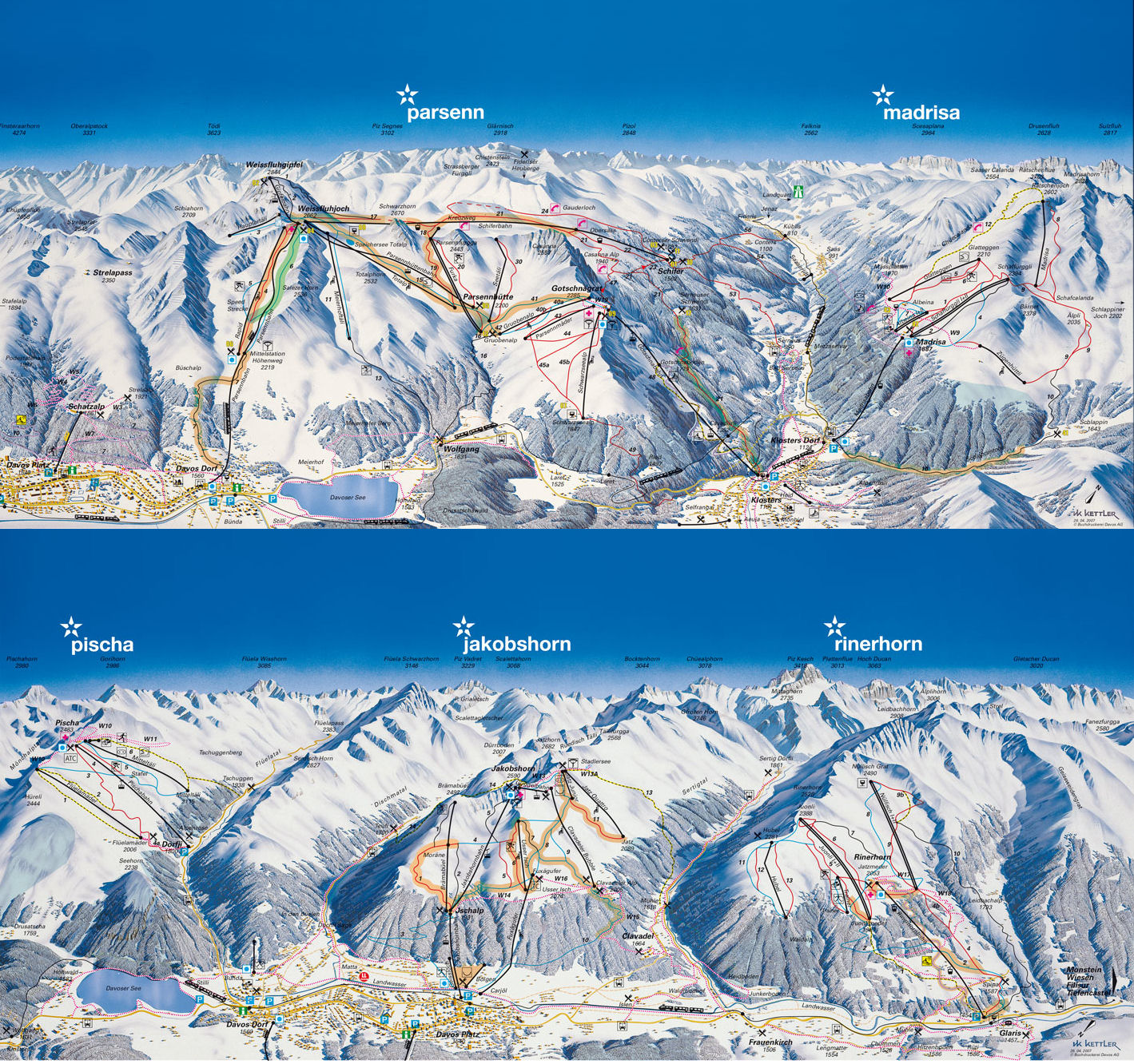 Ski Davos by train - take the railway to ski or snowboard in Graubünden