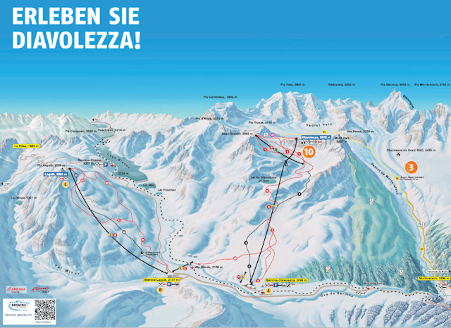 Ski and Snowboard using the Diavolezza trail map