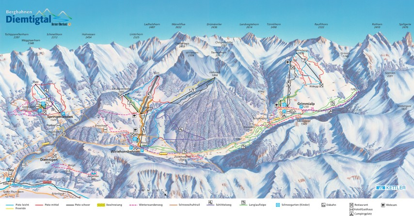 Ski and Snowboard using the Diemtigtal trail map