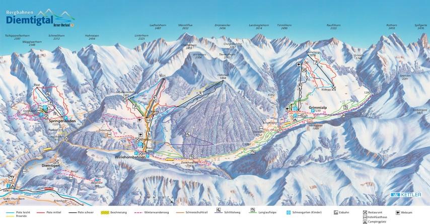 Ski and Snowboard using the Diemtigtal trail map