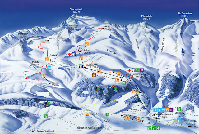 Ski and Snowboard using the Disentis trail map