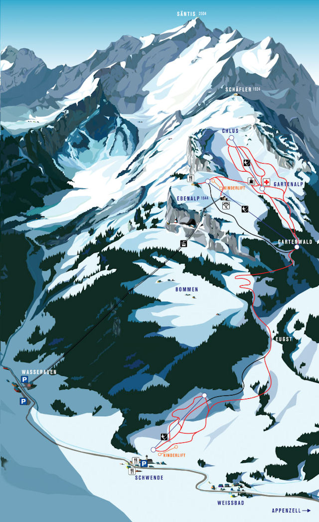 Ski and Snowboard using the Ebenalp trail map