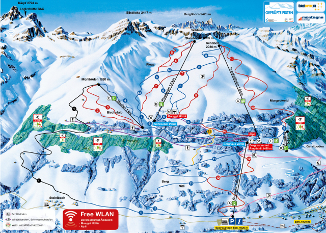 Ski and Snowboard using the Elm trail map