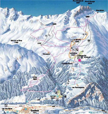 Ski and Snowboard using the Evolène trail map