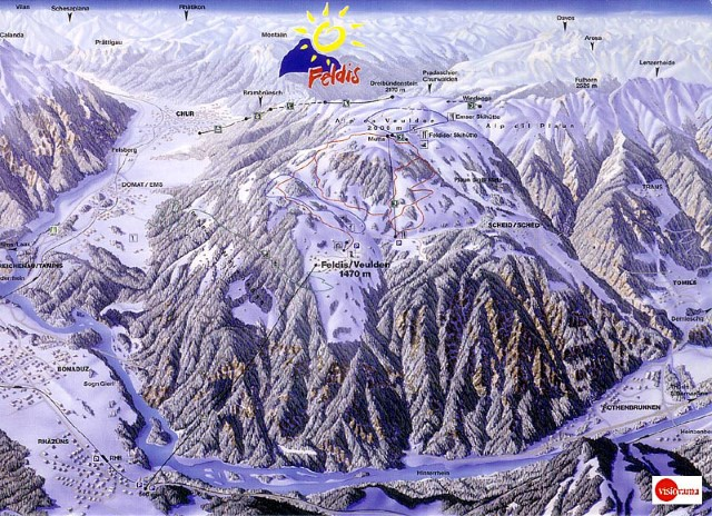 Ski and Snowboard using the Feldis trail map