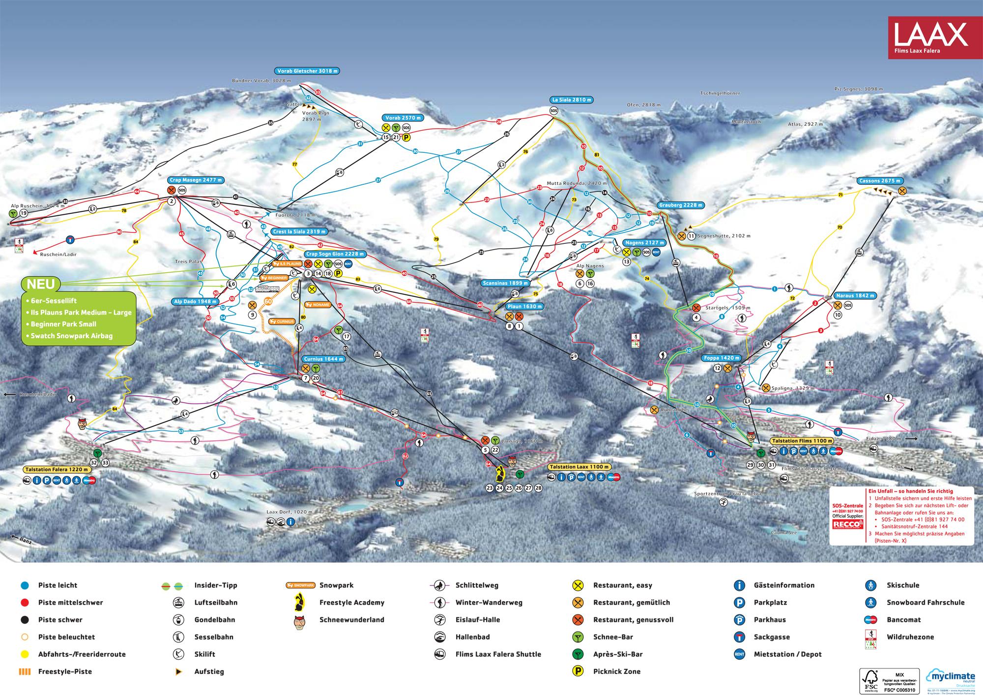 Ski Flims Laax Falera by train take the railway to ski or