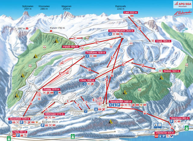 Ski and Snowboard using the Flumserberg trail map
