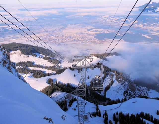 View of winter sports resort in Fribourg