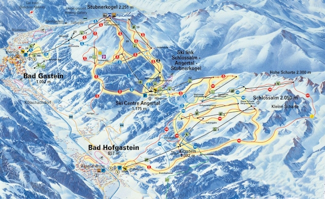 Ski and Snowboard using the Bad Gastein trail map