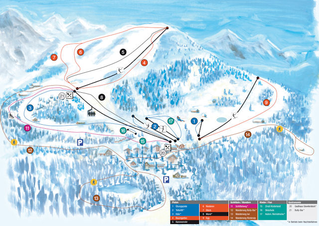 Ski and Snowboard using the Giswil trail map