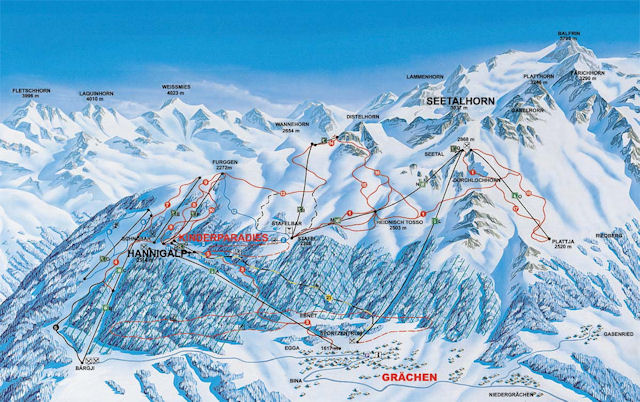 Ski and Snowboard using the Grächen trail map