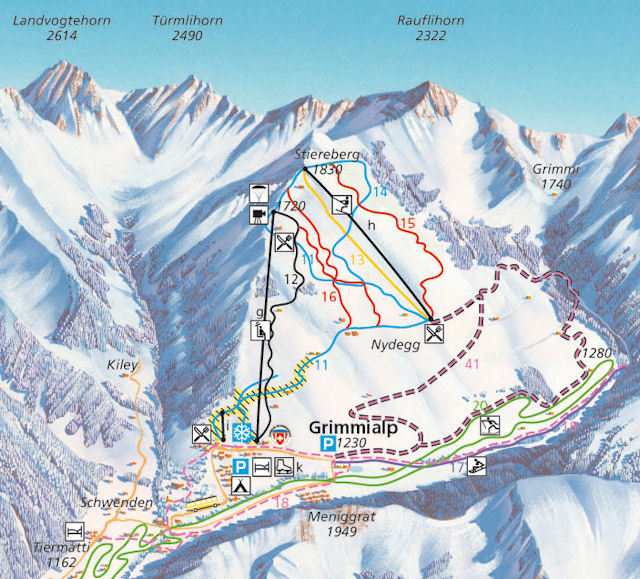 Ski and Snowboard using the Grimmialp trail map