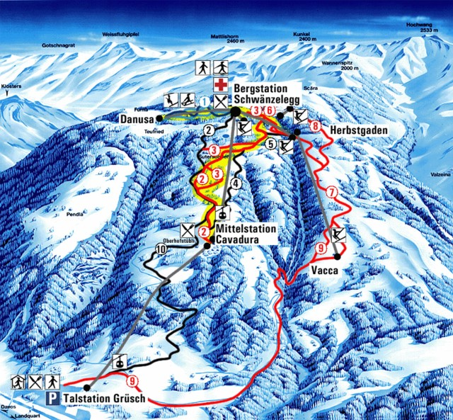 Ski and Snowboard using the Grüsch-Danusa trail map