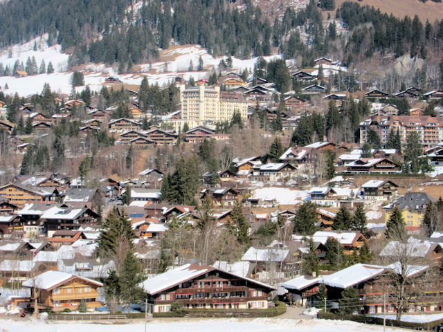 The Gstaad Palace dominates the village of Gstaad.