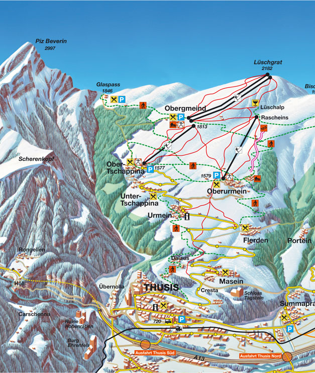 Ski and Snowboard using the Thusis trail map