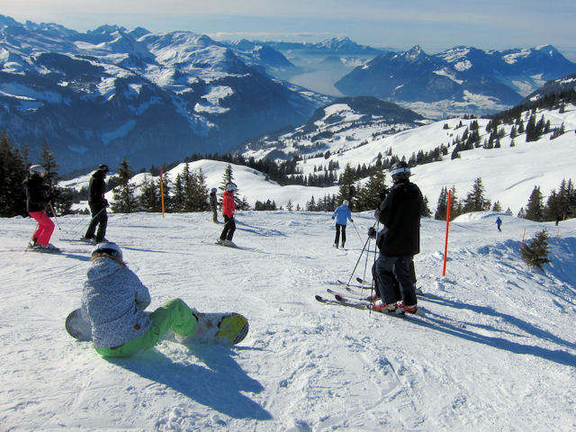 View of winter sports resort in Schwyz