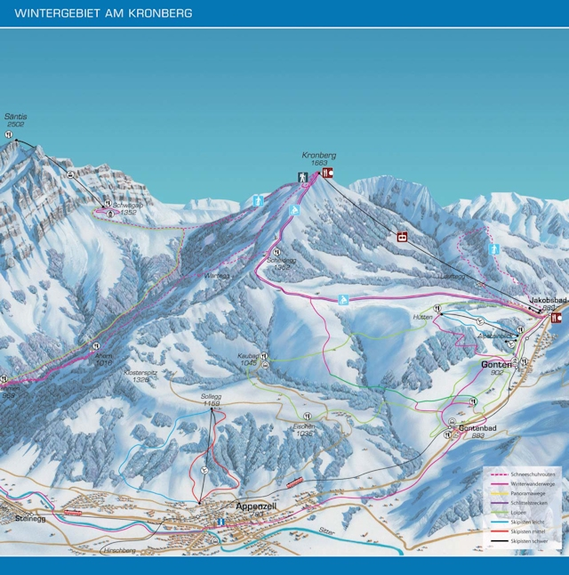 Ski and Snowboard using the Jakobsbad trail map