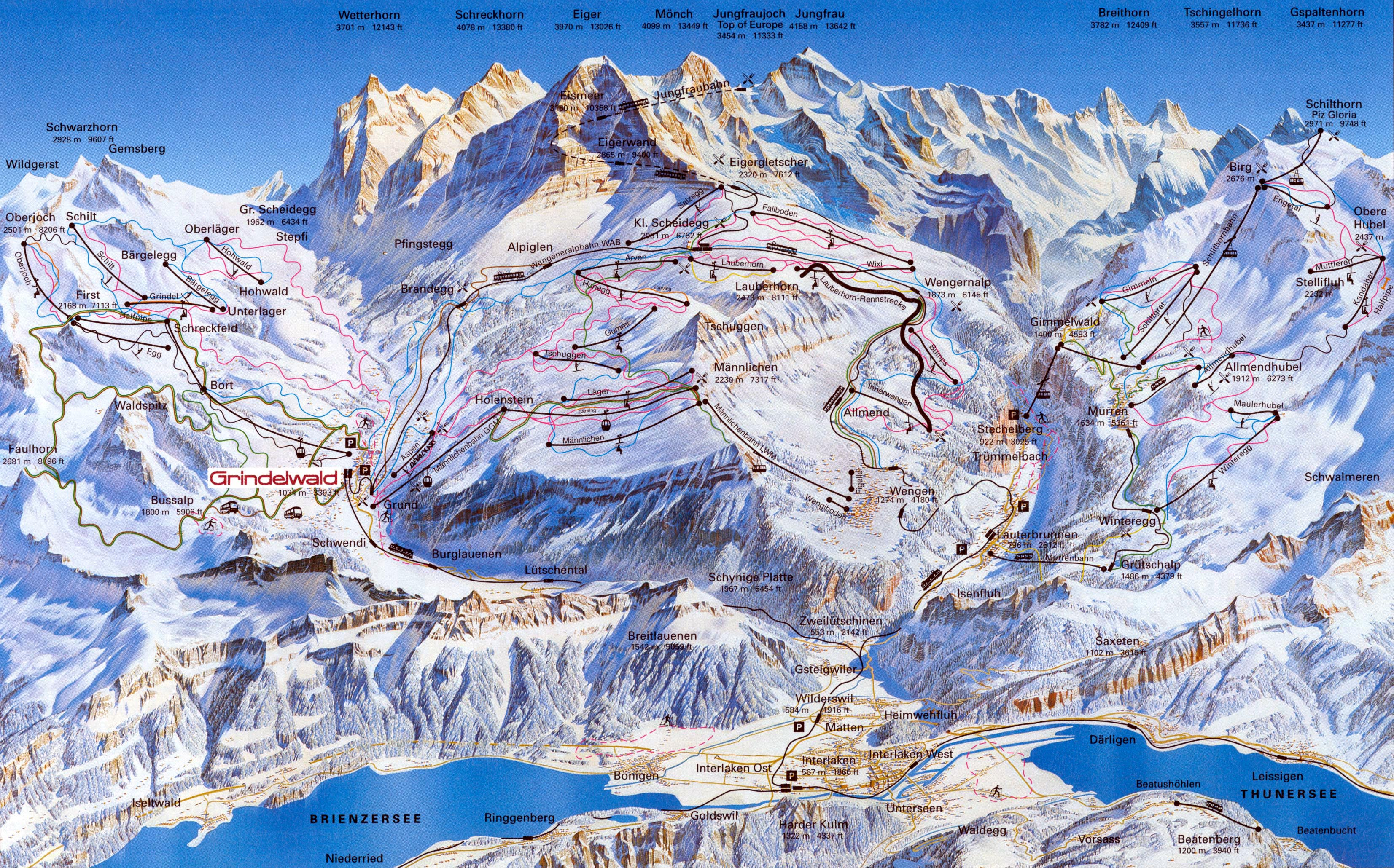 Ski and snowboard Jungfrau Region winter sports in and near