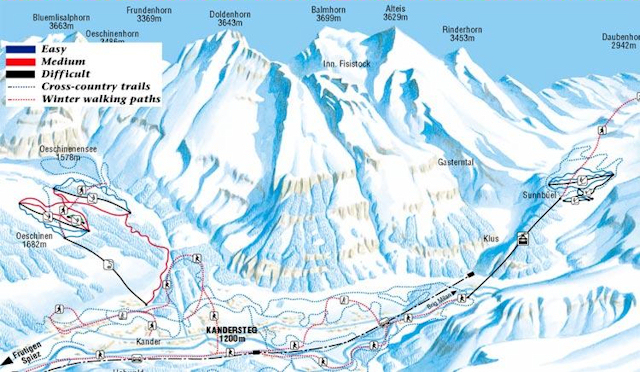 Ski and Snowboard using the Kandersteg trail map