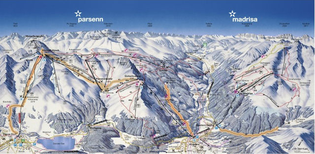 Ski and Snowboard using the Klosters trail map