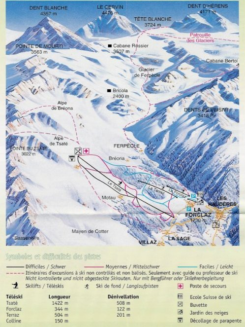 Ski and Snowboard using the La Forclaz trail map