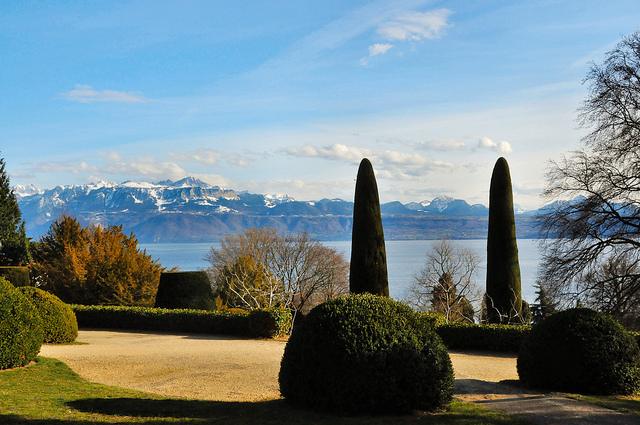 You can see the Alps from Lake Geneva